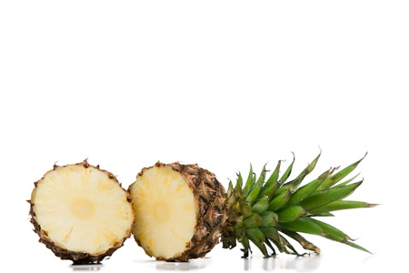Halved pineapple on a white background photo
