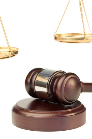 Gavel and golden scale of justice on a white background Stock Photo - 10195832