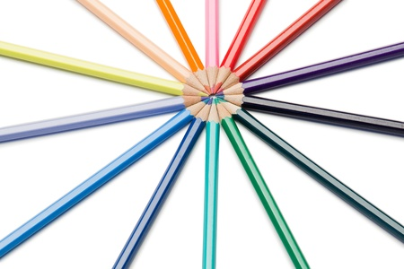 Color pencils rose-window on a white background Stock Photo - 10197768