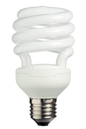 compact: Light bulb on a white background Stock Photo