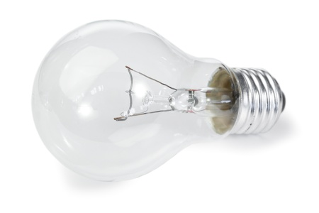 Isolated light bulb on a white background photo