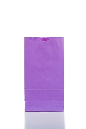 Purple paper bag on a white background Stock Photo - 10195032