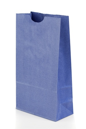 Angled blue paper bag on a white background photo
