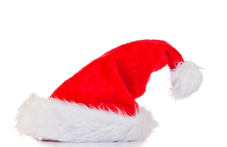 Vertical Christmas hat on a white background photo