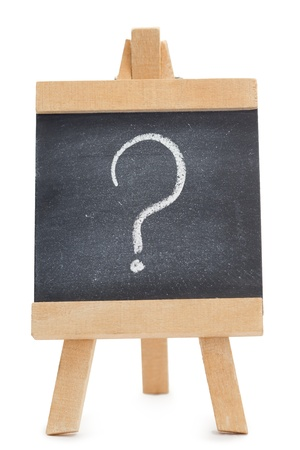 Chalkboard with a question mark written on it isolated against a white background photo