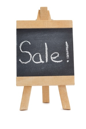 Chalkboard with the word sale written on it isolated against a white background photo