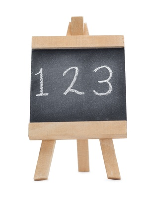 Chalkboard with the figures 123 written on it isolated against a white background Stock Photo - 10197676