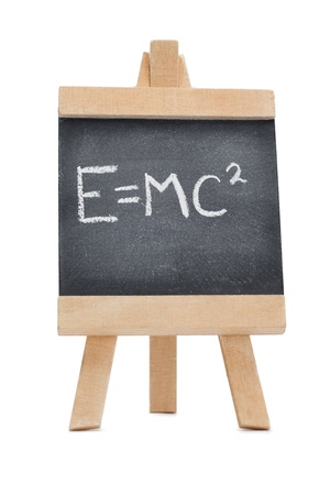 Chalkboard with a scientific formula written on it isolated against a white background Stock Photo - 10198183