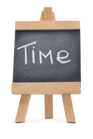 Chalkboard with the word time written on it isolated against a white background Stock Photo - 10205478