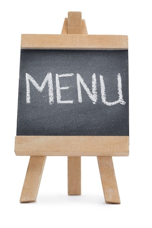 Chalkboard with the word menu written on it isolated against a white background photo