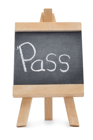 Chalkboard with the word pass written on it isolated against a white background photo