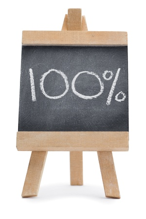 Chalkboard with 100% written on it isolated against a white background photo