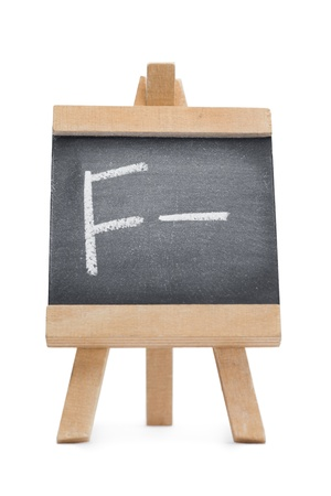 Chalkboard with the letter f and the symbol - written on it isolated against a white background Stock Photo - 10198141