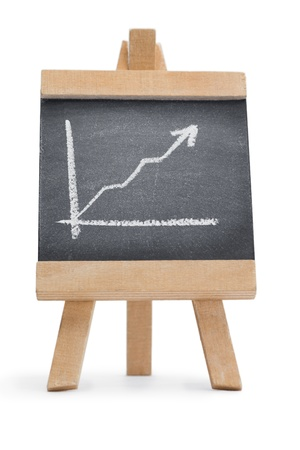 Chalkboard with a graphic drawn on it isolated against a white background Stock Photo - 10198847