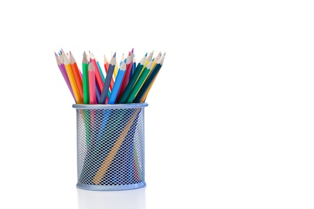 Color pencils in a jar on a white background photo