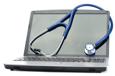medical physician: Blue stethoscope and laptop on a white background