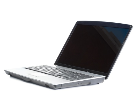 Angled laptop on a white background photo