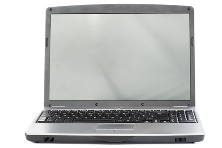 Silver laptop on a white background photo