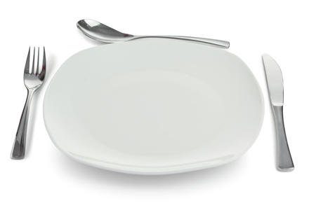 Cultery around plate on a white background Stock Photo - 10193117