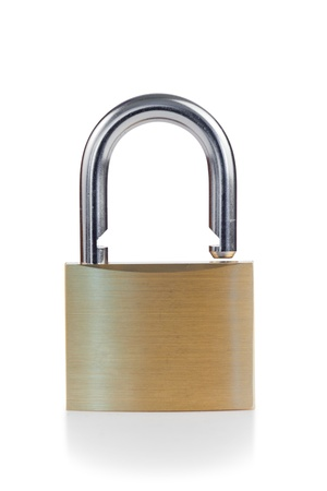 Close golden padlock on a white background photo
