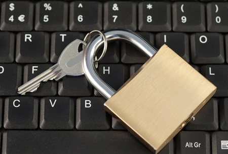 Padlock on a keyboard photo