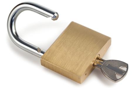 Open golden padlock on a white background Stock Photo - 10196200