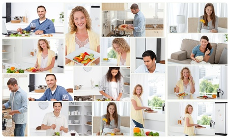 Montage of young adults cooking at home photo