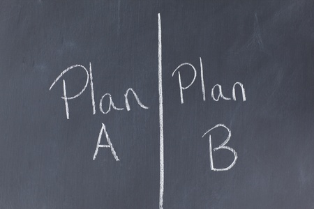 Blackboard divided into two plans photo