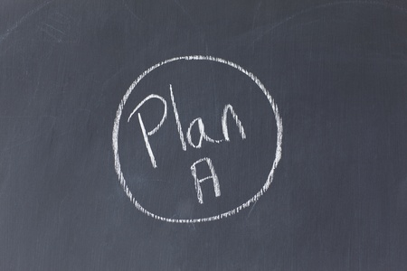 circled: Blackboard with Plan A written on it and circled Stock Photo