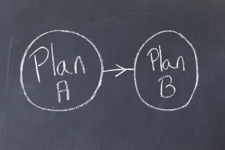 Two circled plans bound to each other on a blackboard photo