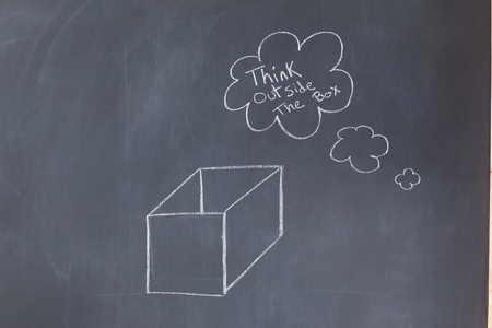 Cloud bubbles containing a message and a box drawn on a blackboard photo