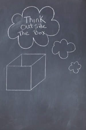 Cloud bubbles containing a message and a box drawn on a blackboard Stock Photo - 10207237