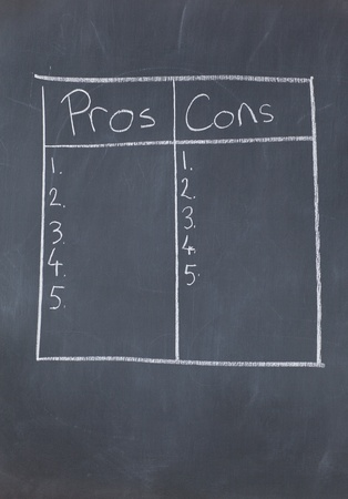 cons: Table with numbers confronting pros and cons on a blackboard