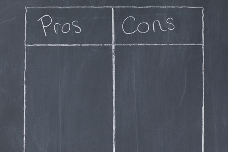 cons: Table confronting pros and cons on a blackboard