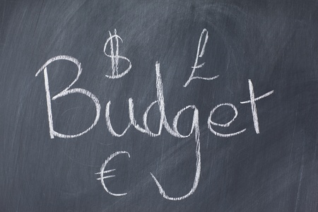 Word budget and currencies on a blackboard photo