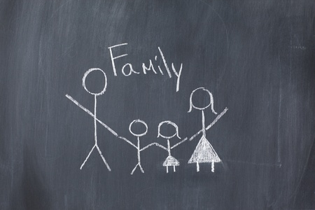 Drawing of a family on a blackboard photo