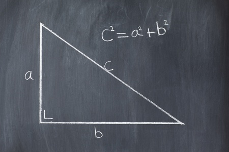 theorem: Right triangle with pythagorean formula on a blackboard