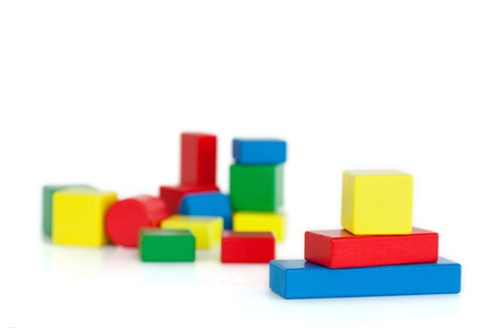 child s block: Colored toy building blocks for children