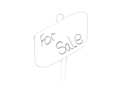 Drawn angled sign with words for sale written on it on a white background photo