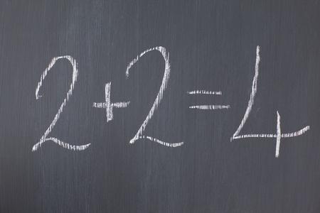 Blackboard with 2+2=4 written on it photo