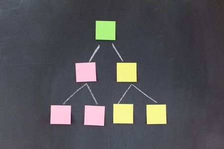 Color sticky notes forming a pyramid on a blackboard Stock Photo - 10206861