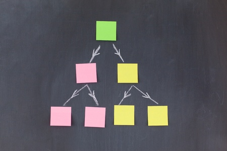 Color sticky notes forming a pyramid on a blackboard Stock Photo - 10207332