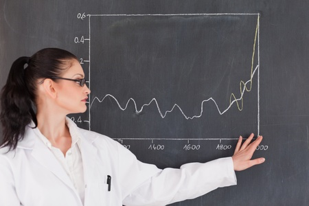 Female scientist showing charts on the blackboard in a laboratory photo