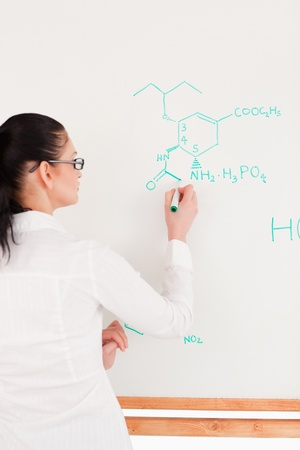 Scientist writing a formula on a white board in a laboratory Stock Photo - 10196121
