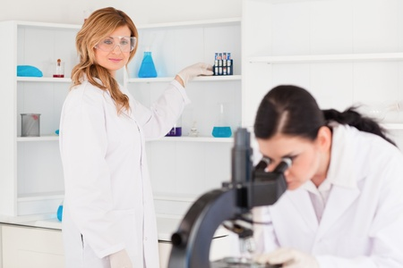 Two scientists conducting an experiment looking through a microscope photo