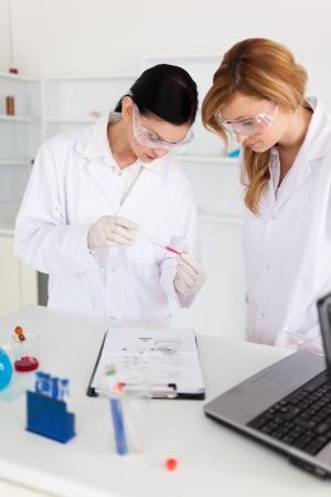 tecnico laboratorio: Dos cient�ficos observar un tubo de ensayo en el laboratorio Foto de archivo