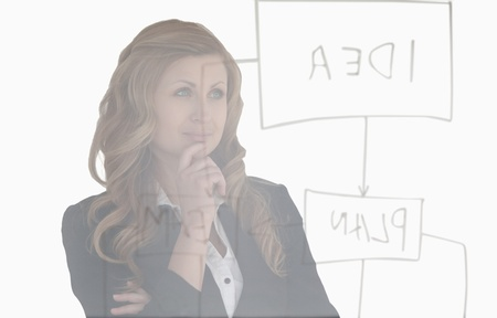 Young woman thinking about a diagram photo