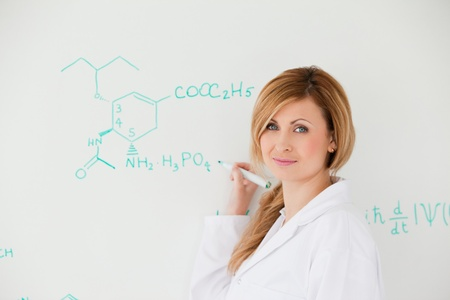 Female scientist looking at the camera while writing a formula on a white board in a lab Stock Photo - 10197557