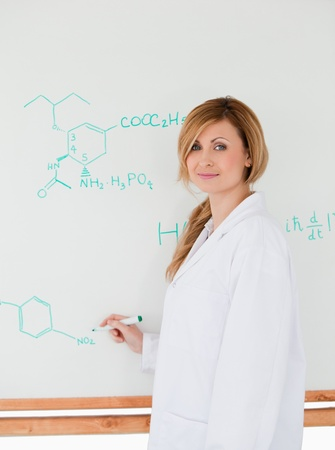 Cute scientist looking at the camera while standing near a white board in a lab Stock Photo - 10191925