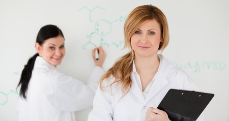 Two scientists in front of a white board in a lab photo